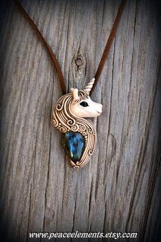 Unicorn clay pendant with blue Labradorite fantasy necklace horse bohemian gemstone boho necklace mystic fairy tail Forest Elf elvishOOAK_$79.20
