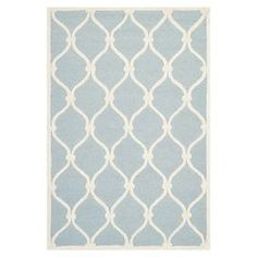 Bring a touch of warmth to your bedroom or study with this power loomed wool rug, featuring pastel hues and a trellis pattern. Use to define spaces in your living room or team with neutral colours to create a tranquil guest bedroom.    Product: RugConstruction Material: 100% WoolColour: Blue and ivoryFeatures: Power-loomedTrellis patternPile Height: 1.5 cmNote: Please be aware that actual colours may vary from those shown on your screen. Accent rugs may also not show the entire pattern that…