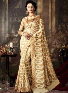 Cream Printed Silk Designer Fancy Party Wear Sarees Online http://www.angelnx.com/Sarees/Designer-Sarees