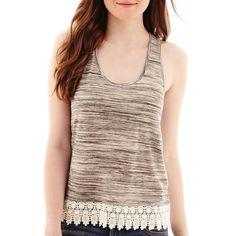 Arizona Crochet-Hem Swing Tank Top Gray ($13) ❤ liked on Polyvore featuring tops, macrame top, crochet tank top, crochet tank, gray tank and crochet lace top