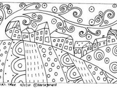 Karla Gerard Patterns by Hetty Van Gurp. A selection of whimsical folk art patterns created by artist, Karla Gerard. Colouring Pages, Adult Coloring Pages, Coloring Books, Rug Hooking Patterns, Mosaic Patterns, Art Patterns, Drawing For Kids, Line Drawing, Pattern Paper