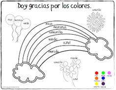 Los Colores Spanish Colors Rainbow Coloring Page from Miss