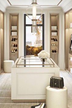 There are few luxuries greater than preparing for the day or an evening out in a drool-worthy dressing room, where the clothes, shoes and accessories are showcased, not just stored. Dressing Room Closet, Dressing Room Design, Closet Bedroom, Dressing Rooms, Walk In Closet Design, Closet Designs, Wardrobe Design, Closet Interior, Beautiful Closets