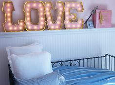 LOVE Marquee Letters with GOLD edging design ideas interior design room design house design Marquee Letters, Marquee Lights, Girls Bedroom, Bedroom Decor, Master Bedroom, Bedrooms, Alphabet Lighting, Luz Led, Beautiful Living Rooms