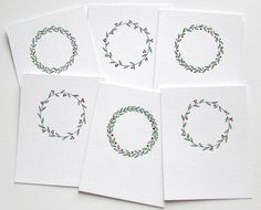 Scandinavian Christmas wreath watercolor and ink original card set, Set of 6 notecards, Winter hygge hand painted hand drawn holiday gfit