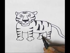 How to draw a Tiger-in easy steps for children, kids, beginners, Step by step. - YouTube