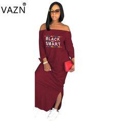 f48072c15d78 Women´s Maxi Loose Split Black & Smart Print Dress Voluptuous (+) Size  Available