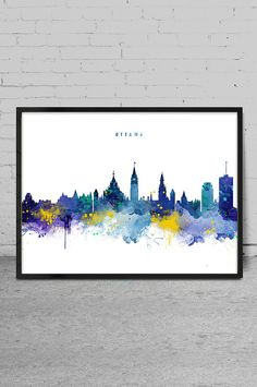 Ottawa Skyline Ottawa Canada Cityscape Watercolor by MyVisualArt