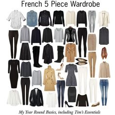 French 5 Piece Wardrobe - Basics by charlotte-mcfarlane on Polyvore featuring moda, Abercrombie & Fitch, Uniqlo, J.Crew, Yves Saint Laurent, Victoria Beckham, Oasis, Polo Ralph Lauren, Jaeger and H&M