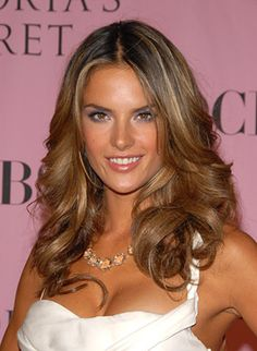 Alessandra Ambrosio. Absolutely love her hair color with the dark brown and blonde.