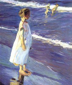 Sorolla y la Niña en el mar