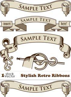 Stylish Retro Ribbons Vector
