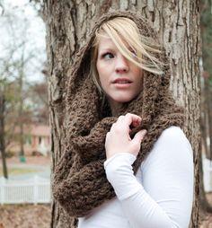 The Chunky Cowl Scarf Shawl Hood - Mocha/Bark - large. $36.00, via Etsy.