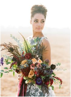 For this fall wedding inspiration the bride wore a black and white gown. In her hands, she carried a loose, organic bouquet by Sarah's Garden Design. Cheap Wedding Flowers, Fall Wedding Bouquets, Wedding Flower Arrangements, Floral Wedding, Bridal Bouquets, Floral Arrangements, Wedding Themes, Wedding Decorations, Wedding Ideas