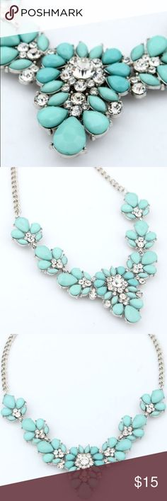 *COMING SOON!*Aqua Blue Statement Necklace This is a gorgeous necklace with pretty gems! Will arrive in 3-5 weeks. I'll update once it arrives! Glimmergal16 Jewelry Necklaces