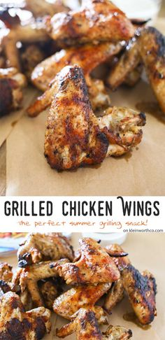 Chicken Wings are a deliciously simple grilled chicken recipe to wow your crowd at your next bbq, party or summer gathering. Seriously SO GOOD! Grilled Chicken Wings, Bbq Chicken Wings, Chicken Wing Recipes, Grilled Chicken Recipes, Grilled Meat, Chicken Bites, Party Chicken, Bbq Wings, Grilling Recipes