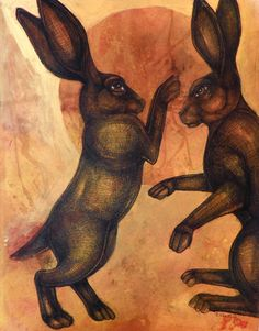 Boxing Hares / Rabbits Animal Art Print by by LynnetteShelley, $30.00