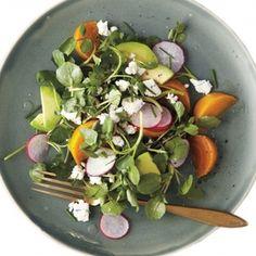 Roasted Golden-Beet, Avocado, and Watercress Salad