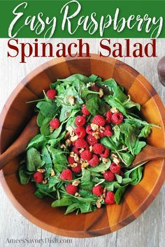 An easy raspberry spinach salad (aka Christmas salad) recipe made with fresh baby spinach, fresh raspberries, candied walnuts, and raspberry vinaigrette dressing.#holidaysalad #christmassalad #spinachsalad #raspberryspinachsalad #easyspinachsalad via @Ameecooks Savory Salads, Savoury Dishes, Food Dishes, Lunch Recipes, Healthy Recipes, Christmas Salad Recipes, Creamy Salad Dressing, Make Ahead Appetizers, Beef Salad