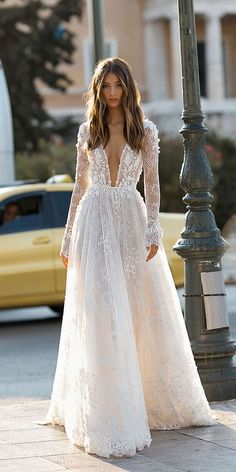 """If the words """"gorgeous long sleeve wedding dress"""" set your heart racing, you're in for a treat. Find your perfect long-sleeve wedding dress! Lace Wedding Dress With Sleeves, Bridal Wedding Dresses, Dream Wedding Dresses, Dresses With Sleeves, Lace Sleeves, Wedding Lace, Winter Wedding Dresses, Dresses Dresses, Bridesmaid Dresses"""
