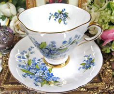 WINDSOR TEA CUP AND SAUCER PRETTY BLUE FLORAL PATTERN TEACUP & SAUCER <br/>Cups & Saucers - 63525