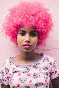 Pink afro