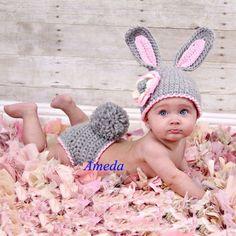 Neugeborenes Hut+Windel Decken Häkeln Kleidung Grau Foto Stütze Kaninchen Kostüm in Baby, Kleidung, Schuhe & Accessoires, Mädchen | eBay!