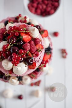 ... raspberry mascarpone cake with fresh fruit & meringue ...