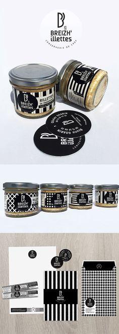 Identité de marque Les Breizh'illettes, conserverie de Chef en Bretagne. #packaging #BZH #noiretblanc #rillettesdelamer