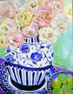 Rosas brancas Pastel Natureza Morta Pintura 18 x 24 pintura original por Elaine Cory