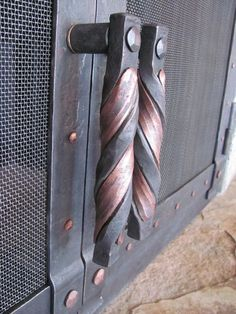 Custom Made Hand Forged Fire Place Doors And Screens Metal Art Projects, Metal Crafts, Sculpture Metal, Blacksmith Forge, Blacksmith Projects, Forging Metal, Iron Art, Metal Fabrication, Metal Furniture