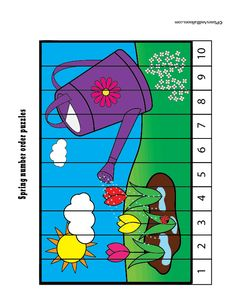 Fun free printable spring puzzles – perfect spring math activities for preschool or kindergarten. Skip counting and number order for kids. - Kids education and learning acts Fun Math Games, Preschool Activities, Preschool Kindergarten, Montessori, Teen Numbers, Ordering Numbers, Spring Activities, Puzzles For Kids, Skip Counting