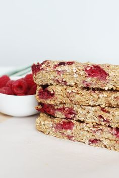 Homemade granola bars are fresh, delicious and easy to whip up.  Add raspberry and apples and you have a nutritious snack....