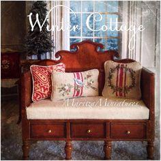 ✨Winter Cottage✨ Painted vintage linen pillows #forsalesoon #dollhouseminiatures #miniatures #paintedfabrics #paintedfurniture #cottage #cottagestyle #maritzaminiatures
