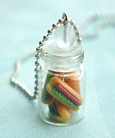 hotdog sandwich in a jar necklace