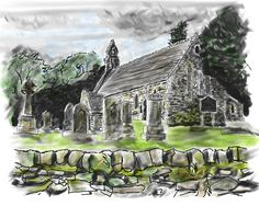 Balquhidder church, Scotland in charcoal and water colors