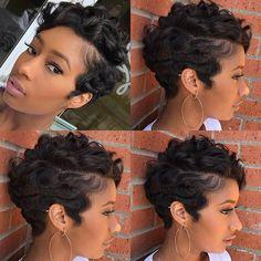 Best Short Pixie Hairstyles for Black Women 2018 – 2019 - Hair - Hair Designs Short Black Hairstyles, Pixie Hairstyles, Short Hair Cuts, Short Pixie, Pixie Cuts, Hairstyles 2018, Short Hair Weaves, African Hairstyles, Short Hair Black Girls