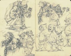 witches everywhere. and pathetic seven dwarves. 2014 2b pencil on moleskine.
