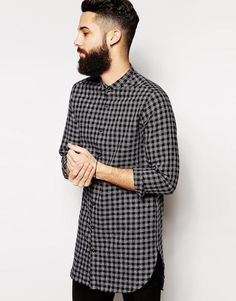 ASOS Shirt In Super Longline With Nep Check And Grandad Collar