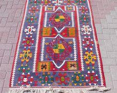"""Small Vintage turkish kilim rug, wool turkish area rug, nursery decor, colorful rug, floor rug, decorative rug, 64.5"""" x 45.5"""""""
