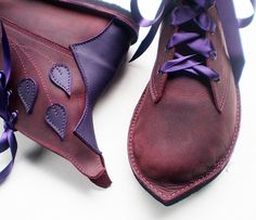CUSTOM Leather handmade bohemian fairytale boots in 7 sizes, 12 colours, MUSTARDSEED by Fairysteps. £209.00, via Etsy.