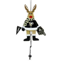 Pittsburgh Penguins Wooden Cheering Reindeer Ornament - Fanatics.com