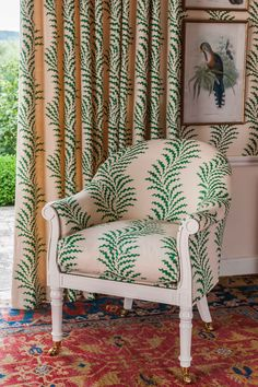 Soane Britain's Spoonbill Chair, upholstered in Scrolling Fern Frond Emerald, with matching curtains and wallpaper. One of my favourites . Bedroom Goals, Fern Frond, French Pattern, Matching Wallpaper, Farmhouse Style Bedrooms, White Bedroom Furniture, Ferrat, Furniture Styles, Furniture Ideas