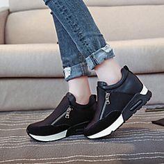 Women's Shoes Fabric Wedge Heel Comfort Round Toe Zipper Fashion Sneakers Outdoor/Casual Black/Red | LightInTheBox