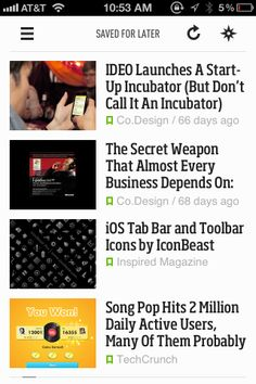 Feedly mobile app (iPhone), river