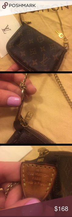 Louis Vuitton wristlet Louis Vuitton wristlet.... has been used... super cute and light... it did break but than I made a knot with the chain so it can remain a wristlet... Louis Vuitton Bags Clutches & Wristlets