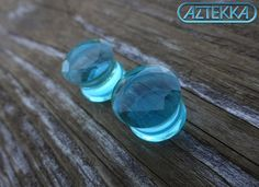 "Light Blue FACETED GLASS PLUGS - Double Flare Design -1 New Pair- Size 0g, 00 gauge or 1/2"" on Etsy, $16.95"