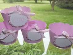 Its a girl pink  handmade cupcake wrappers by kadorables on Etsy, $8.00