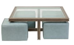 The Benjamin table and ottomans