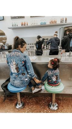 Mommy and me jacket set Painted Denim Jacket, Painted Jeans, Painted Clothes, Mommy And Me Outfits, Cute Outfits, Modest Outfits, Skirt Outfits, Summer Outfits, Custom Clothes